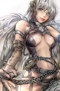 A busty woman in leather armor and a feathered cloak.