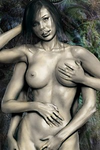 A lovely woman with six arms caresses her naked body.
