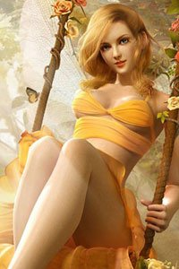 A pretty bond woman wearing a flimsy yellow dress sits in a swing.
