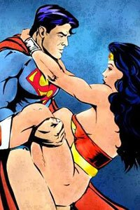 Superman and Wonder Woman sharing an intimate moment in the sky.