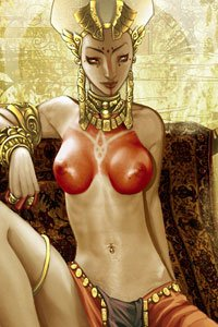 A slender woman with gold jewelry and painted breasts reclines.