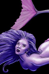 A lovely violet mermaid with long, flowing hair floats peacefully in the nude.
