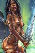 A muscular naked woman with long black hair and a large glowing sword stands defiantly.
