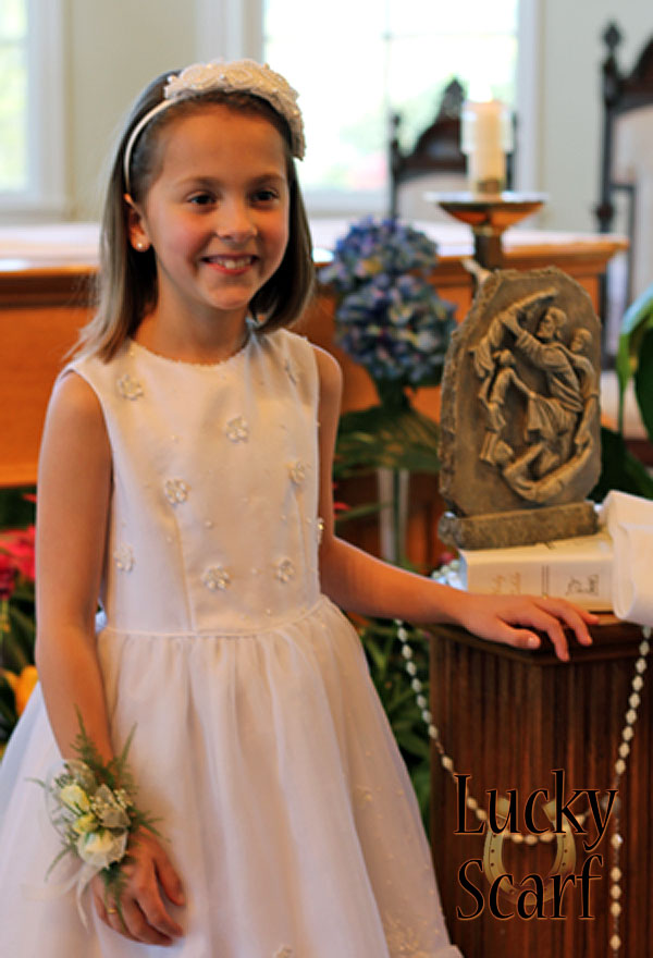 Carly in her Lakin's dress for First Communion