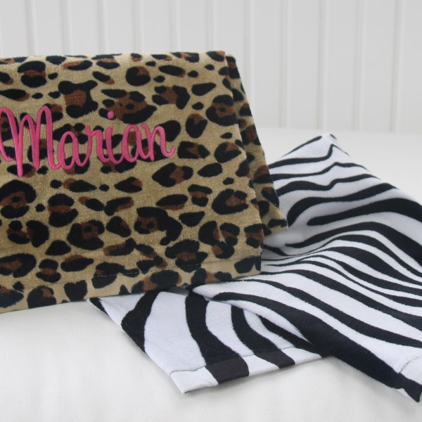 Animal Print Personalized Beach Towels from LuckyScarf.com