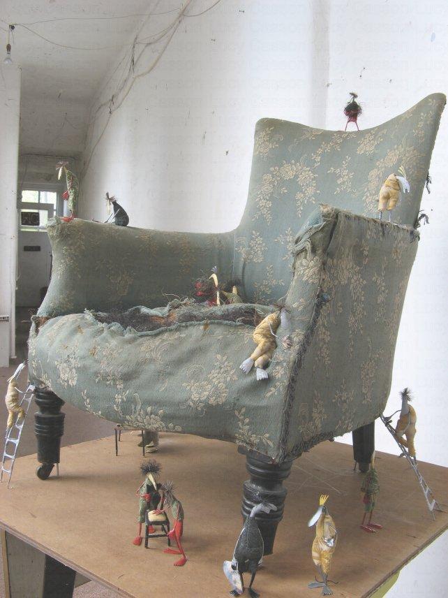Upholsters chair, tin, furnishing fabric