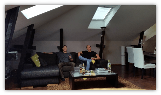 Mikael Syding and Ludvig Sunström relaxing