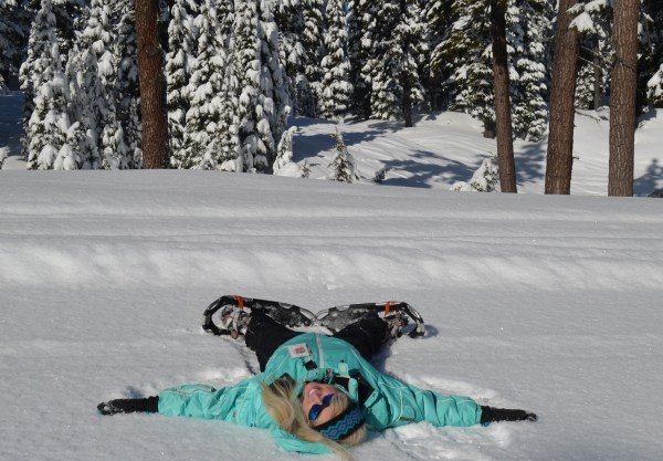 Taking a break from the snowshoeing to make a snow angel... and catch my breath.