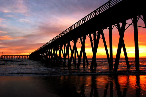 The pier at sunset. ©Rosarito Beach Hotel
