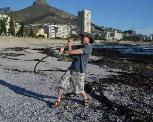 """Steve and his """"snake"""" at Sea Point, South Africa"""