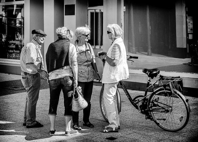Four people talking
