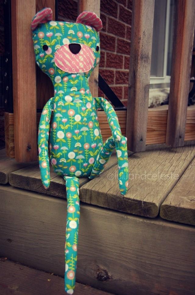 hipster bear pattern sewn by Lulu & Celeste