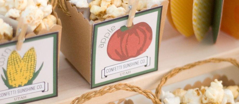 Autumn Market | Printable Food Labels, Burlap Utensil Holders, and a DIY Wreath