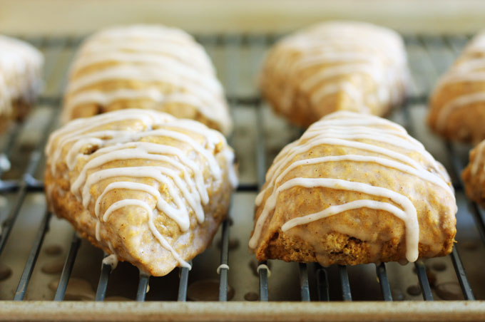 Mini Pumpkin Spice Scones with Apple Cider Glaze ~ Lulu the Baker