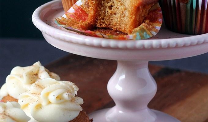 Eggnog Cupcakes with Eggnog Icing