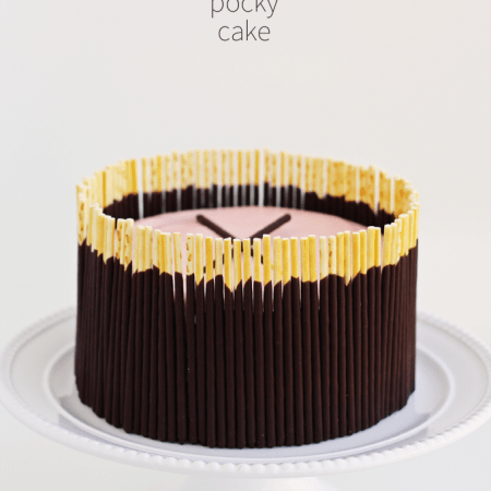 chocolate pocky cake pink buttercream frosting