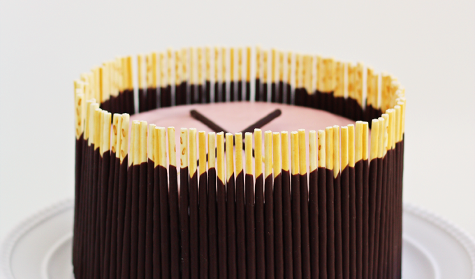 Chocolate Pocky Cake with Pink Buttercream