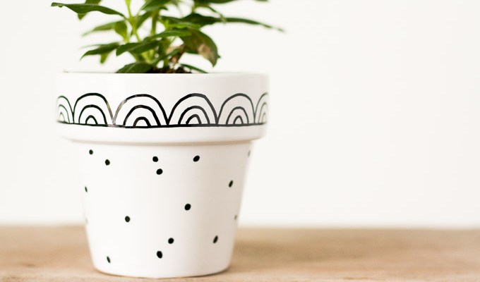 Graphic Hand-Painted Flower Pots