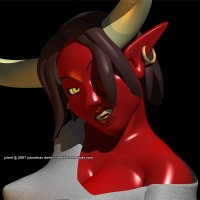 a tight shot of a voluptuous red demon woman's long horns, evil yellow eyes, and disdainful sneer.