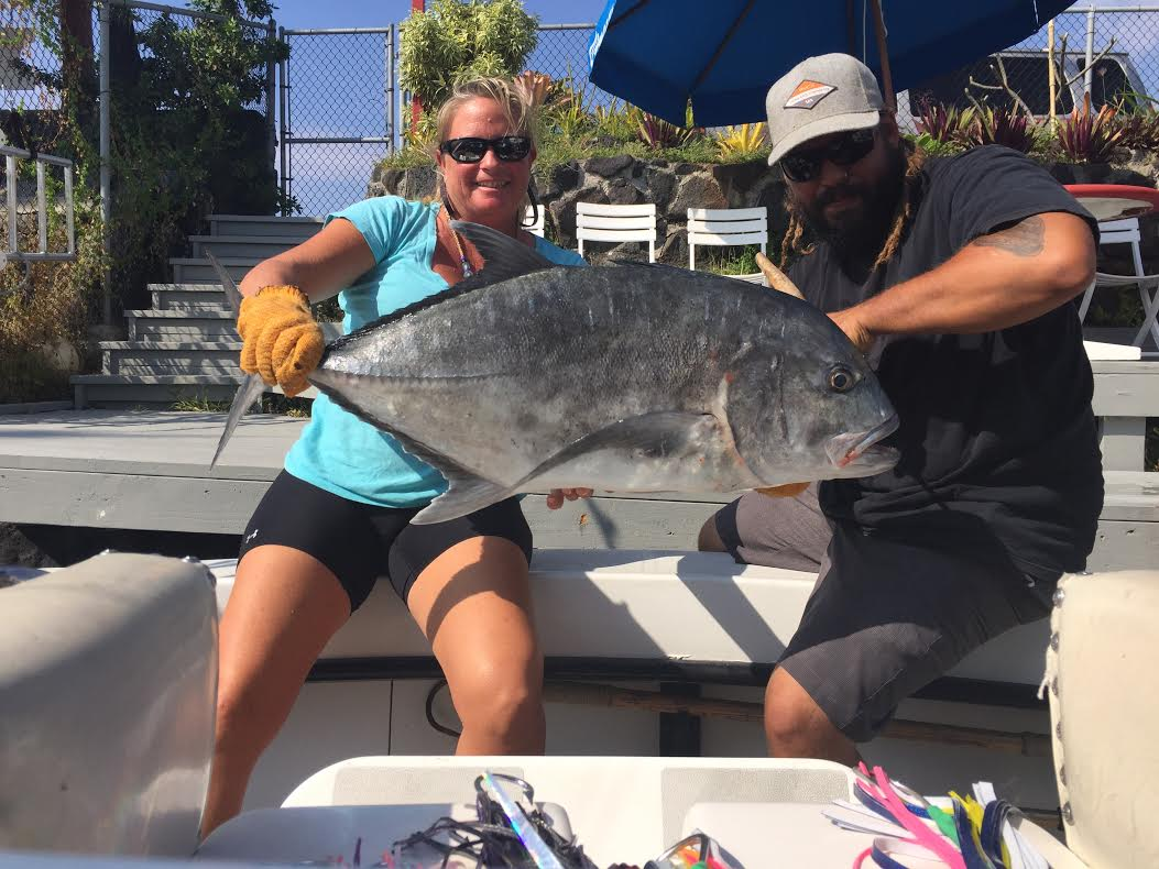 Mahimahi, onaga, ulua and a striped marlin with a tale