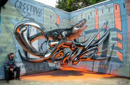 Lusitanie - Odeith aligator stading on Anamorphic 3d chrome letters Greetings from Baton Rouge