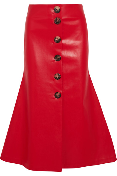 A.W.A.K.E. Faux Leather Midi Skirt