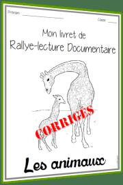 rallye lecture documentaire Animaux corrigés