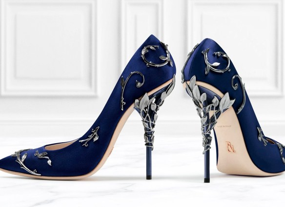 COBALT SATIN WITH ANTIQUE SILVER LEAVES - Curtesy of Ralph and Russo