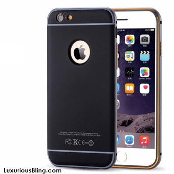 Black iPhone Case with Metal Frame and removable Bevel Back for iPhone 6 / 6 Plus