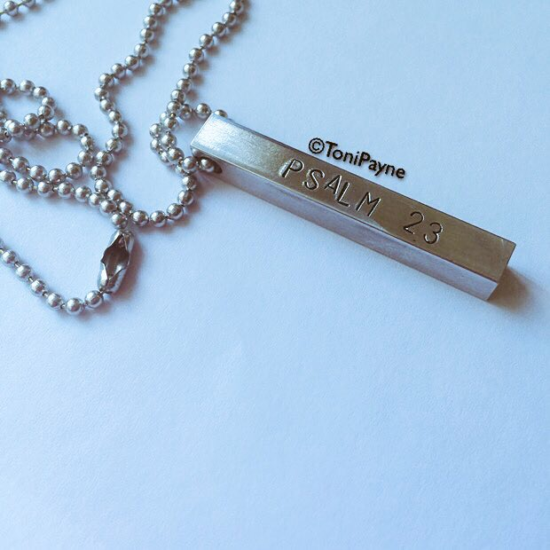 Psalm 23 Custom Handstamped Rectangle Bar Necklace with Chain