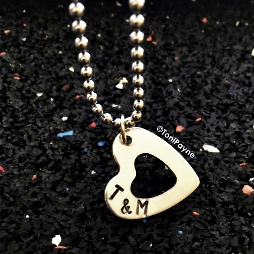 Personalized Heart Outline Pendant with initials Hand Stamped  Necklace Jewelry – Great Gift for Her