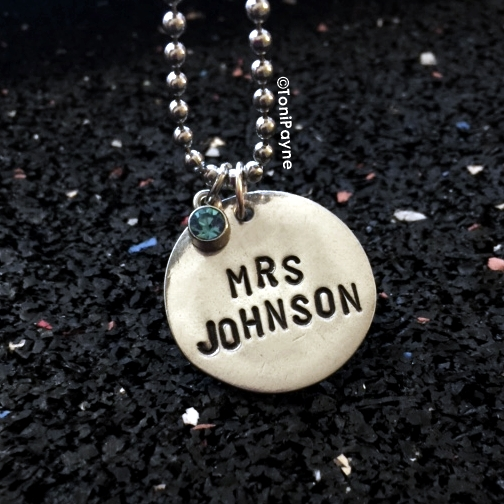 Personalized Hand Stamped Name Round Necklace Jewelry – Great Gift for Her