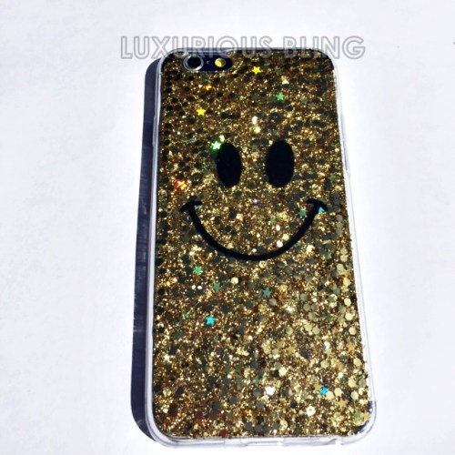 GOLD Sparkly Glitter Smiley Face iPhone 6 Case 1