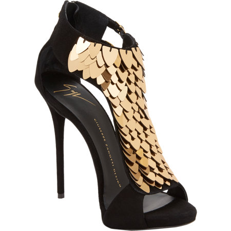 GUISEPPE ZANOTTI Sequin-Embellished T-Strap Sandals $1795 now $719