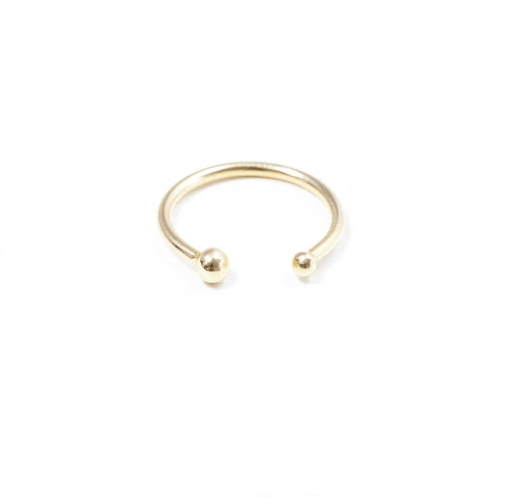 Gold Pearl Cuff Ring, $286