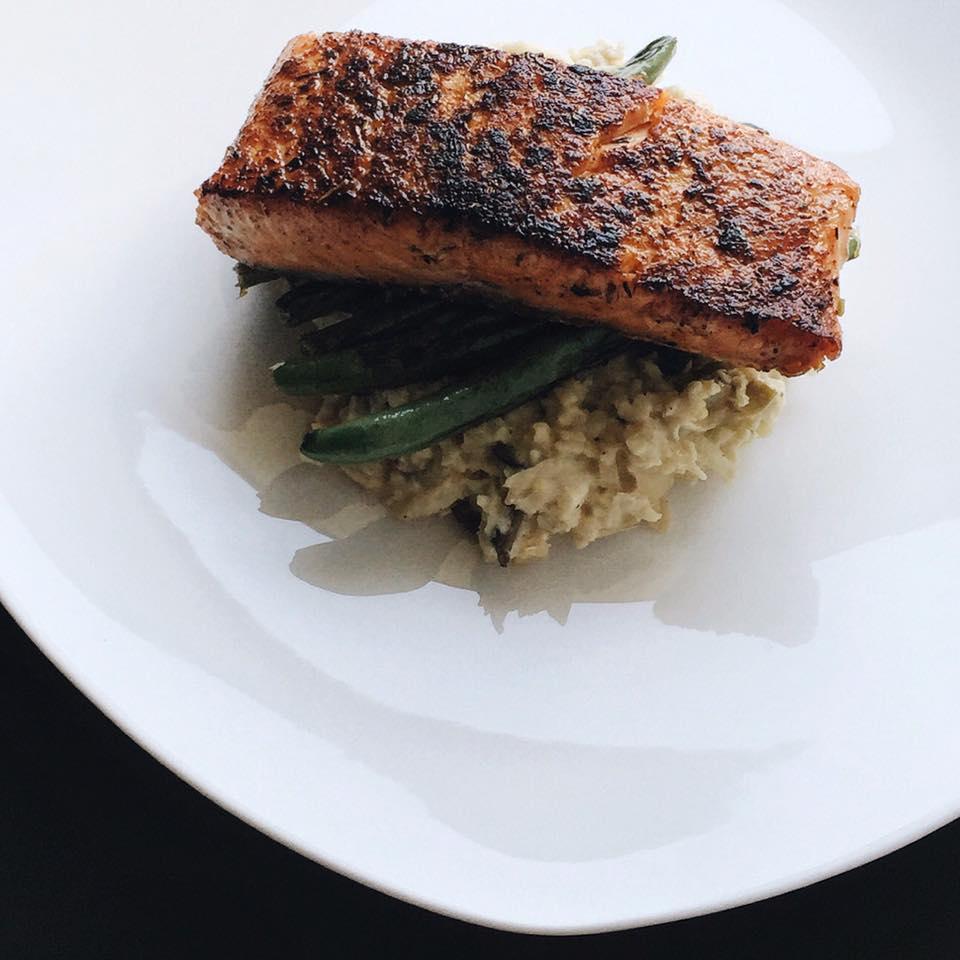 Seared Salmon with Cauliflower Risotto, LVBX Magazine