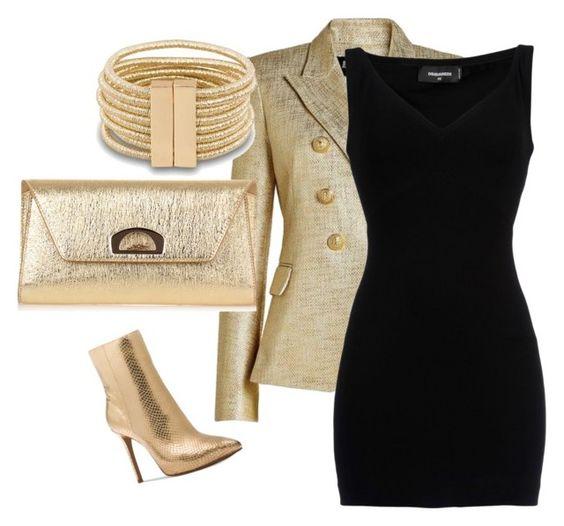 Go for Gold Black Dress