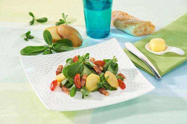 Salade de pomme de terre aux pousses de pourpier / restaurant l'Armen à Brest.