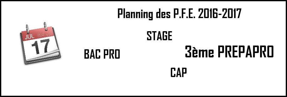 Dates des PFE 2016-2017 (Stages)