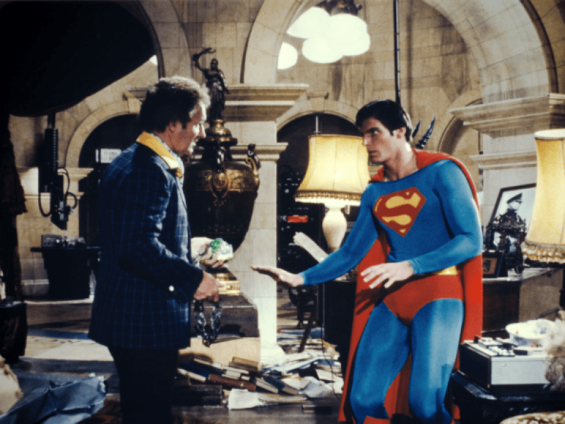 superman -the-movie-1978 gene hackman as lex luthor defeats christopher reeve as superman