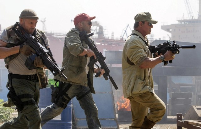 The Expendables 3 Toll Road (Randy Couture), Lee Christmas (Jason Statham) and Barney Ross (Sylvester Stallone).