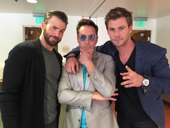 Chris Evans, Robert Downey Jr and Chris Hemsworth Avengers pics