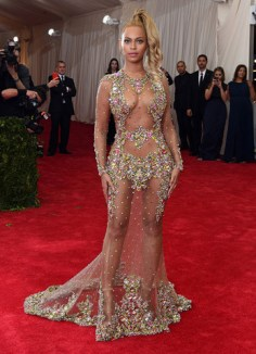 2015 Met Gala - Beyonce sheer dress front