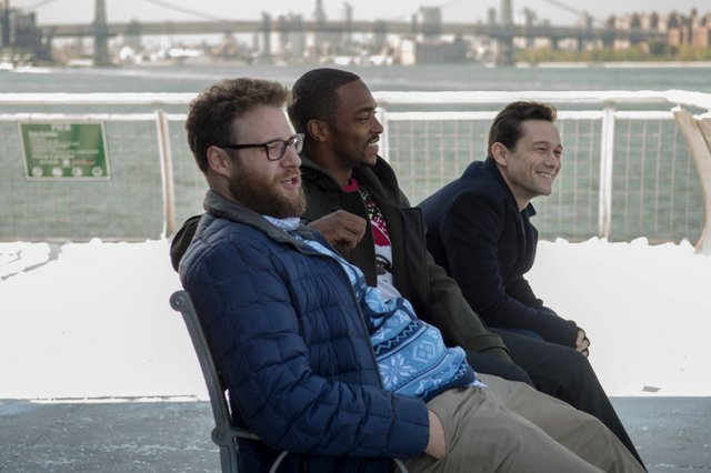 """L-r, Seth Rogen, Anthony Mackie and Joseph Gordon-Levitt star in Columbia Pictures' """"The NIght Before."""""""
