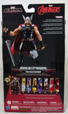 Marvel Legends Thor figure review -rear package