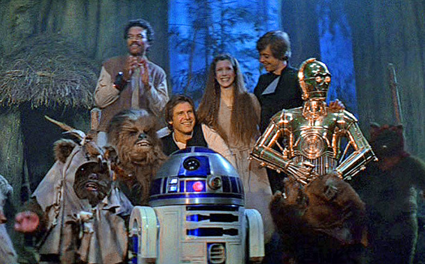 return-of-the-jedi-lando-wicket-chewbacca-leia-r2d2-c3p0-luke-han-solo-endor