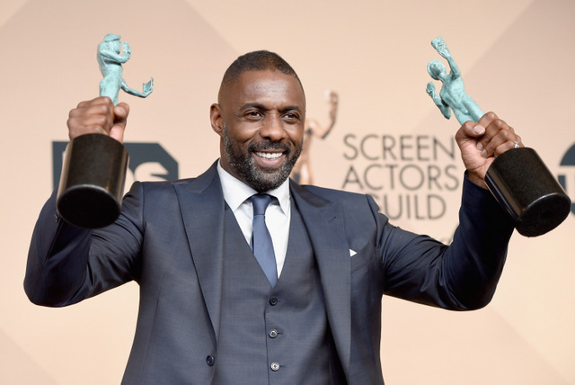 LOS ANGELES, CA - JANUARY 30:  Actor Idris Elba, winner of Outstanding Performance by a Male Actor in a Supporting Role for 'Beasts of No Nation,' and Outstanding Performance by a Male Actor in a Television Movie or Miniseries for 'Luther,' poses in the press room during The 22nd Annual Screen Actors Guild Awards at The Shrine Auditorium on January 30, 2016 in Los Angeles, California. 25650_015  (Photo by Jason Merritt/Getty Images for Turner) *** Local Caption *** Idris Elba