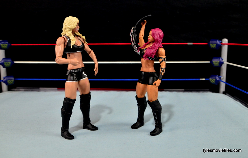 WWE Sasha Banks figure review - showing title off to Charlotte