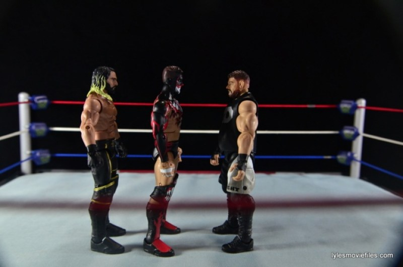 WWE Elite 41 Finn Balor -scale with Seth Rollins and Kevin Owens