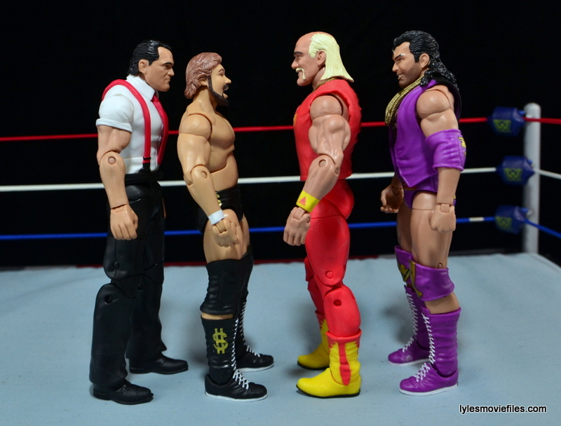 WWE IRS Mattel Elite figure review -scale with Ted DiBiase, Hulk Hogan and Razor Ramon